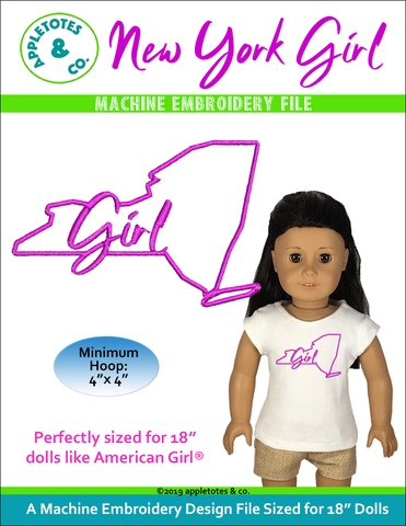 "New York Girl Machine Embroidery File for 18"" Dolls"