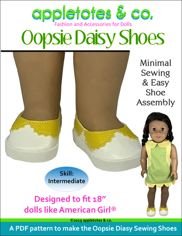 "Oopsie Daisy Shoes Sewing Pattern for 18"" Dolls"