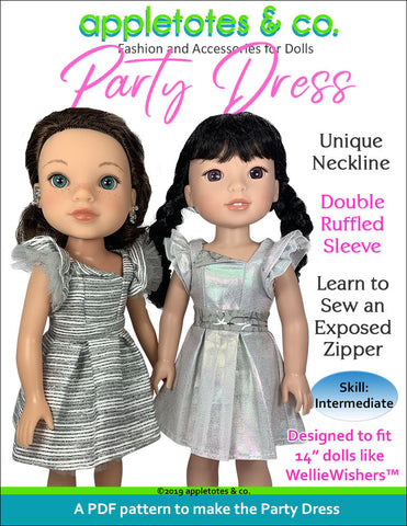 "Party Dress Sewing Pattern for 14.5"" Dolls"