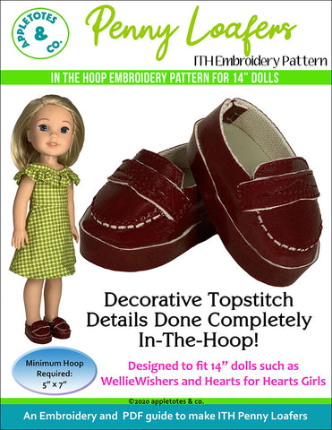 Penny Loafers ITH Embroidery Patterns for 14 Inch Dolls