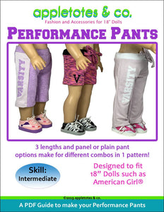 "Performance Pants Sewing Pattern for 18"" Dolls"