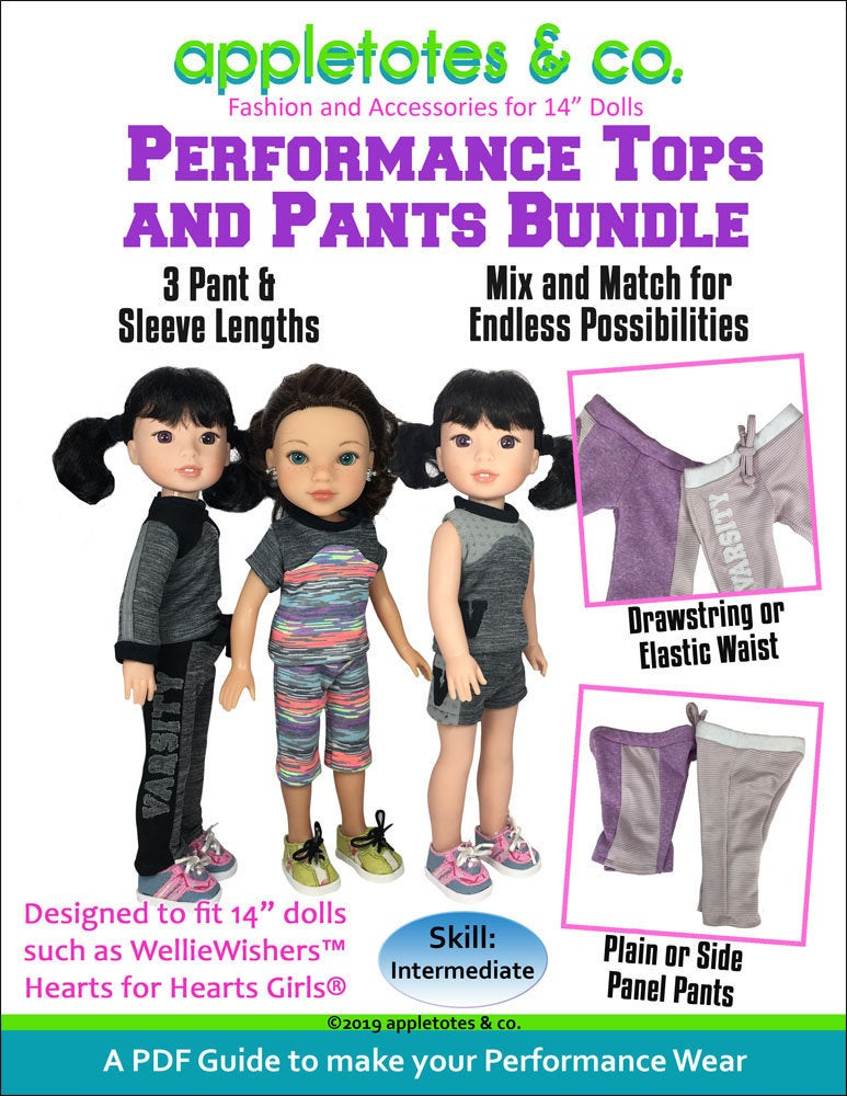 "Performance Wear Bundle Sewing Pattern for 14"" Dolls"