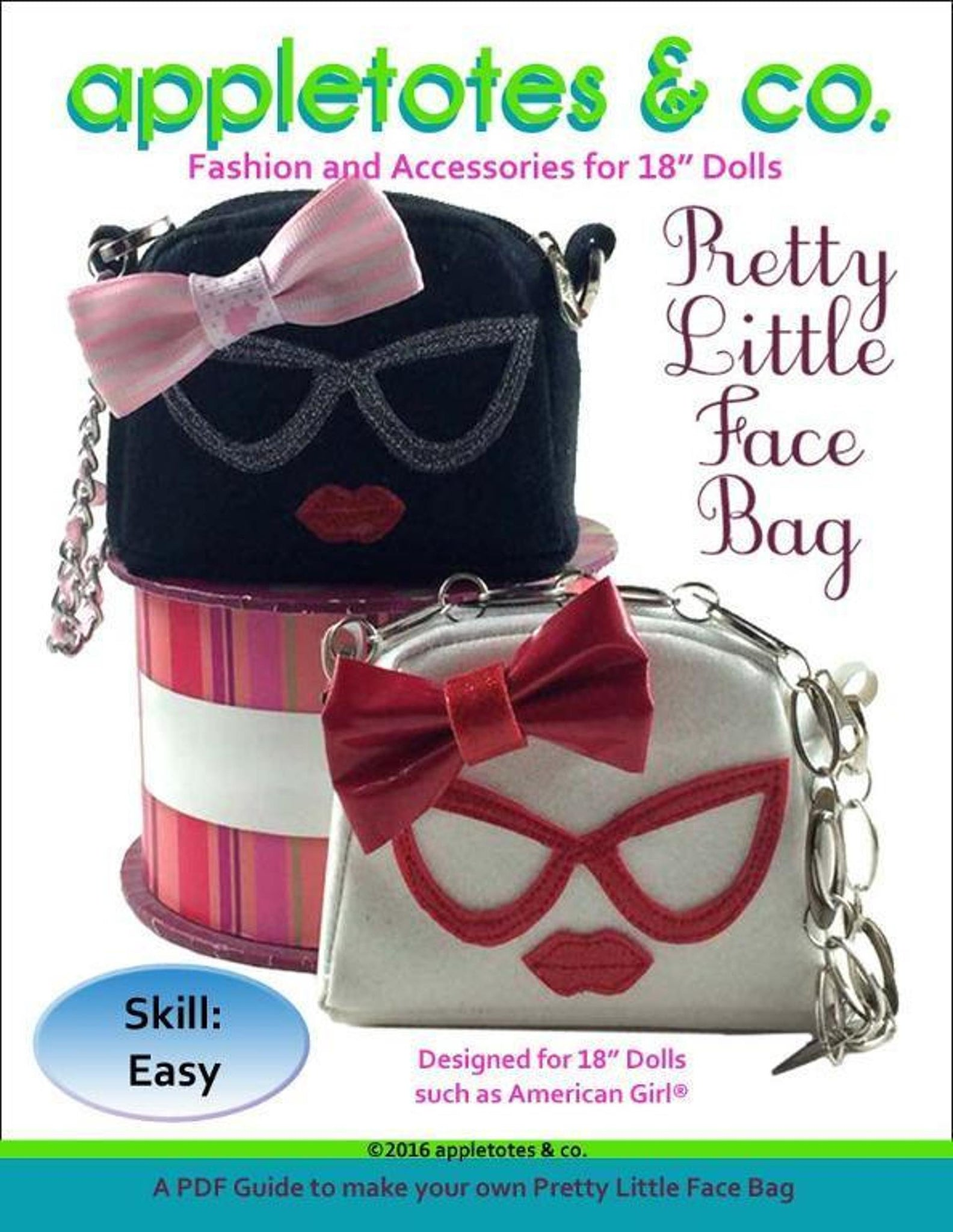"Pretty Little Face Bag Sewing Pattern for 18"" Dolls"