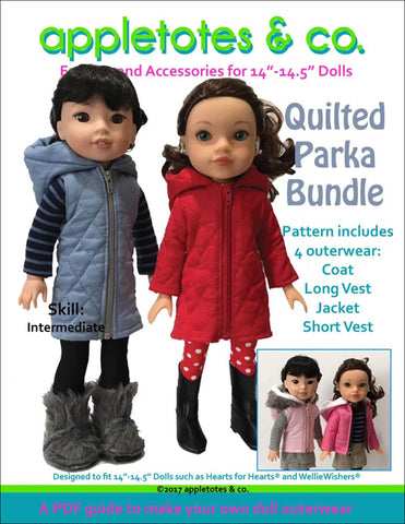 "Quilted Parka Bundle Sewing Pattern for 14.5"" Dolls"