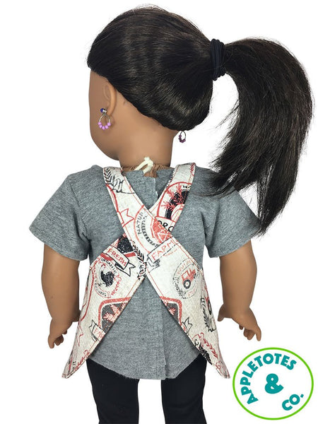 "Reversible Apron Sewing Pattern for 18"" Dolls"
