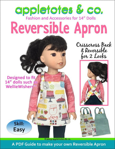 "Reversible Apron Sewing Pattern for 14"" Dolls"