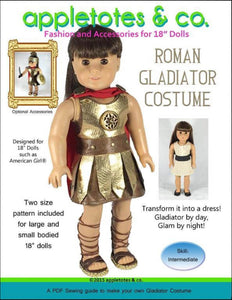 "Roman Gladiator Costume Sewing Pattern for 18"" Dolls"