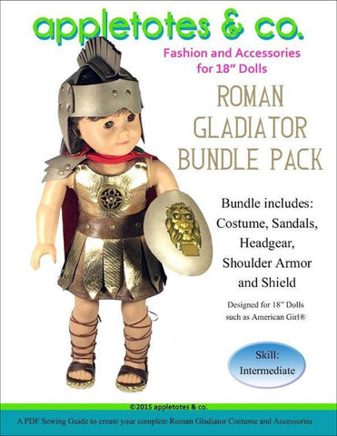 "Roman Gladiator Bundle Pack Sewing Pattern for 18"" Dolls"