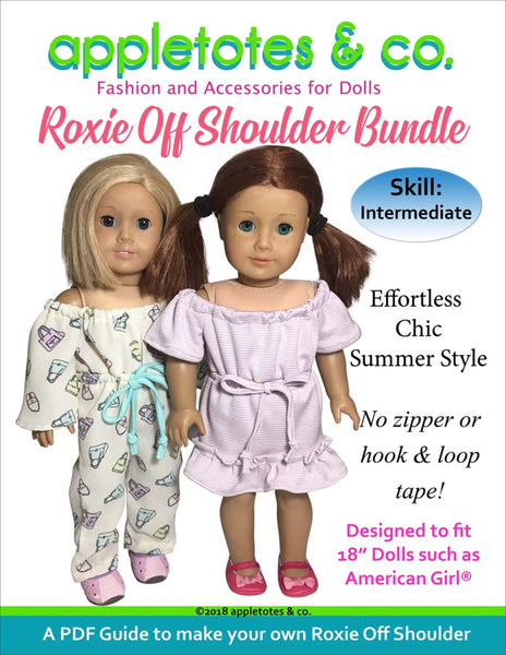 "Roxie Off Shoulder Dress and Jumpsuit Sewing Pattern Bundle for 18"" Dolls"