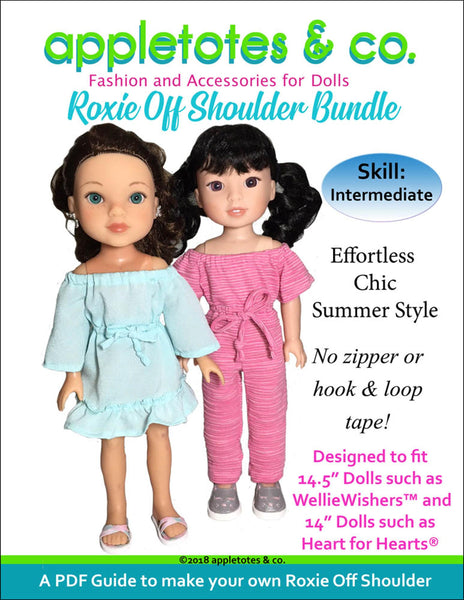 "Roxie Off Shoulder Dress and Jumpsuit Sewing Pattern Bundle for 14.5"" Dolls"