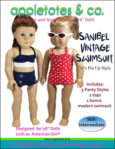 "Sanibel Vintage Swimsuit Sewing Pattern for 18"" Dolls"
