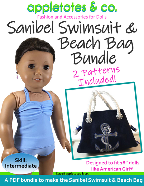 "Sanibel Swimsuit and Beach Bag Sewing Pattern Bundle for 18"" Dolls"