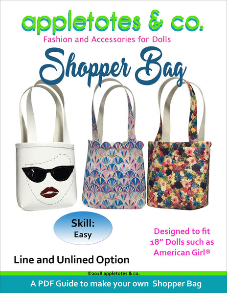 "Free Shopper Bag Sewing Pattern for 18"" Dolls"