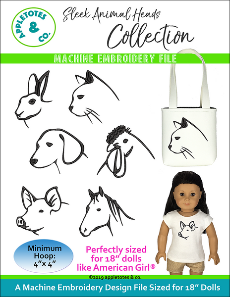 "Sleek Animal Heads Machine Embroidery File Collection for 18"" Dolls"