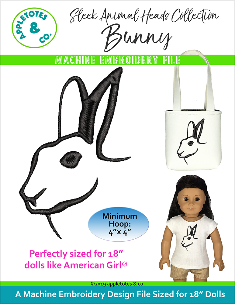 "Sleek Bunny Head Machine Embroidery File for 18"" Dolls"