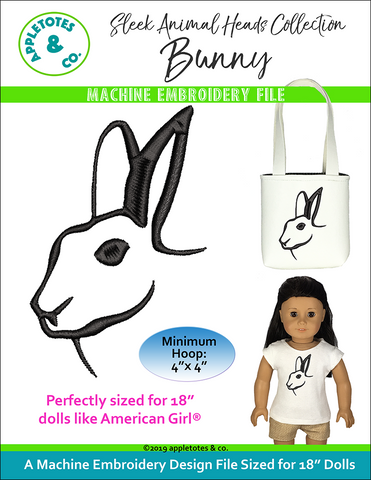 "Sleek Bunny Head Machine ITH Embroidery File for 18"" Dolls"