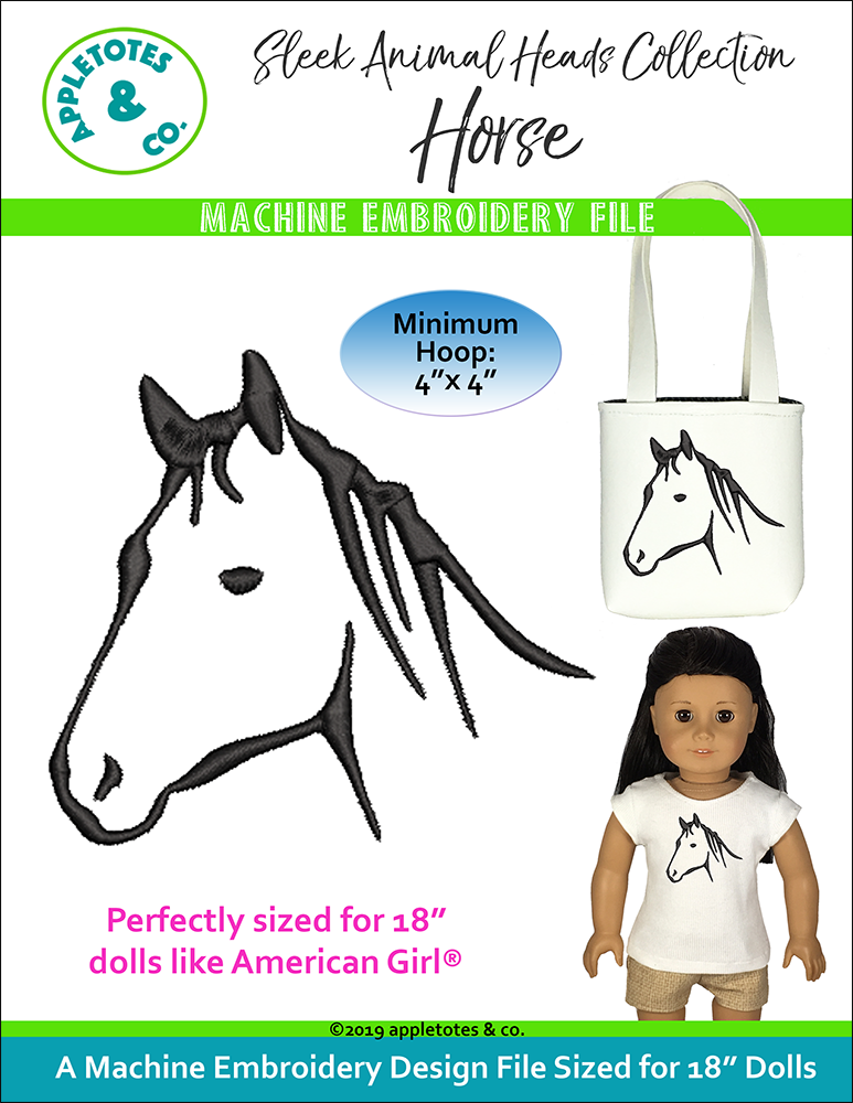 "Sleek Horse Head Machine Embroidery File for 18"" Dolls"