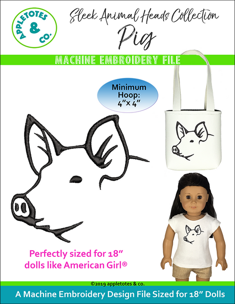 "Sleek Pig Head Machine Embroidery File for 18"" Dolls"