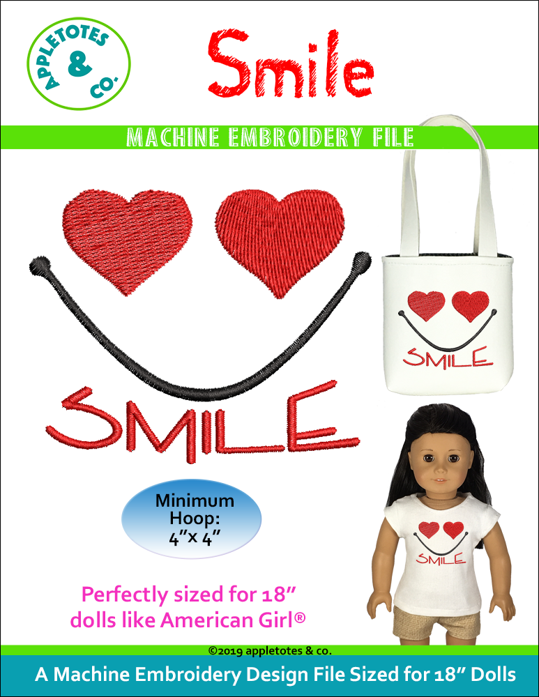 "Smile Machine Embroidery File for 18"" Dolls"