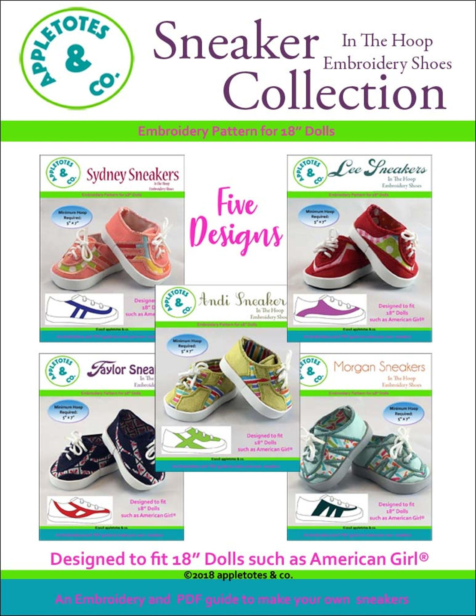 Sneaker Collection (5 Pieces)  ITH Embroidery Patterns for 18