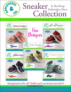 "Sneaker Collection (5 Pieces)  ITH Embroidery Patterns for 18"" Dolls"