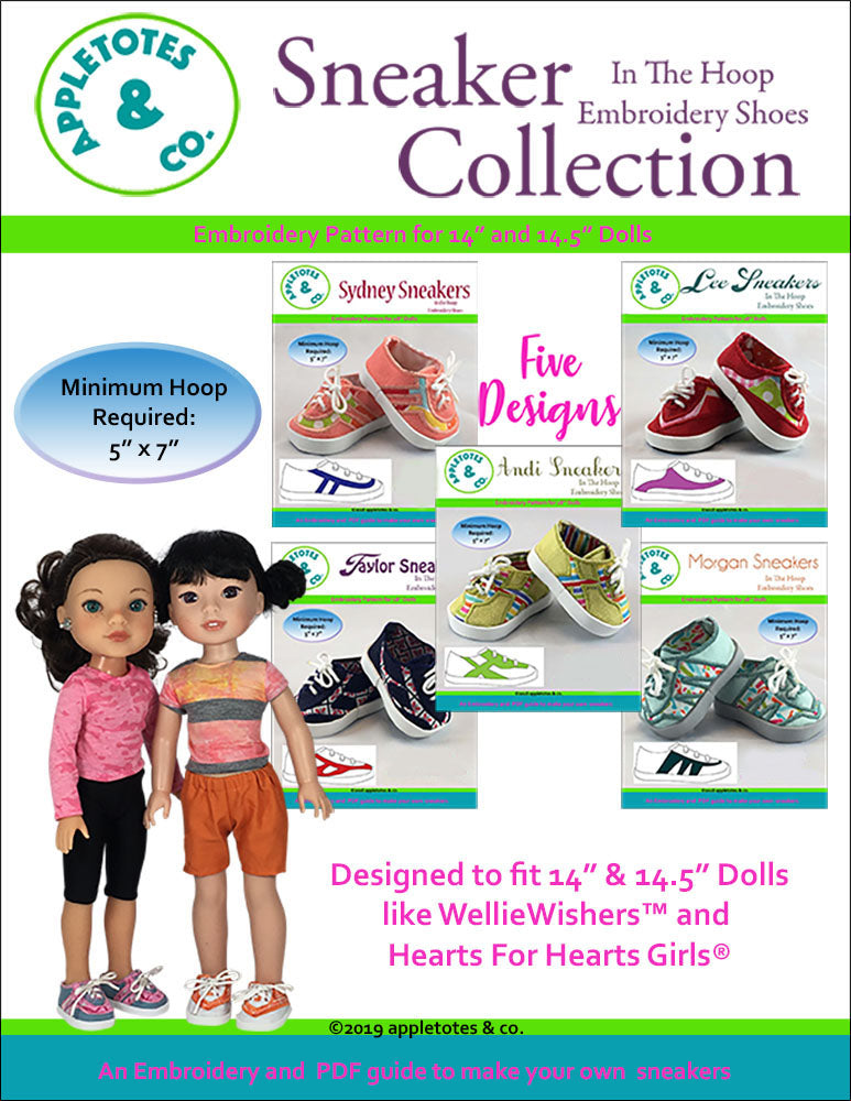 "Sneaker Collection (5 Pieces)  ITH Embroidery Patterns for 14.5"" Dolls"