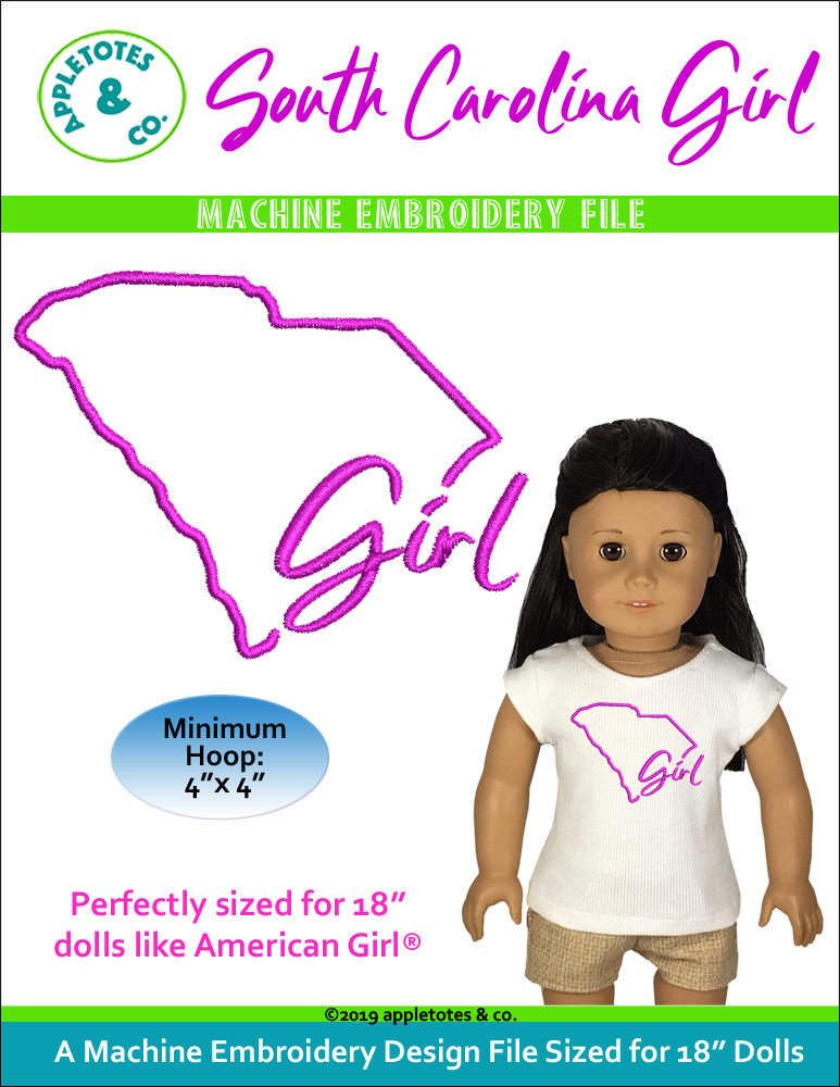 "South Carolina Girl Machine Embroidery File for 18"" Dolls"