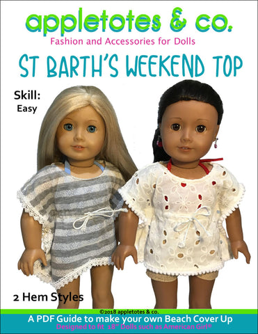 "St. Barth's Weekend Top Sewing Pattern for 18"" Dolls"