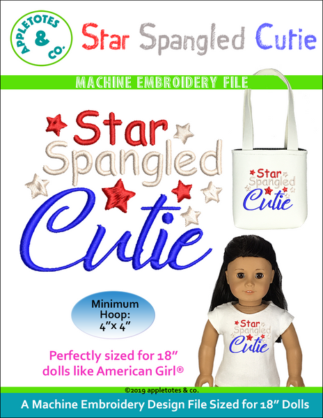 "Star Spangled Cutie Machine Embroidery File for 18"" Dolls"
