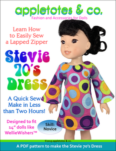 "Stevie 70s Dress Sewing Pattern for 14"" Dolls"