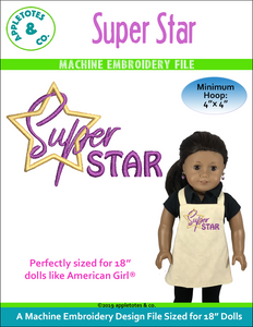 "Super Star Machine Embroidery File for 18"" Dolls"