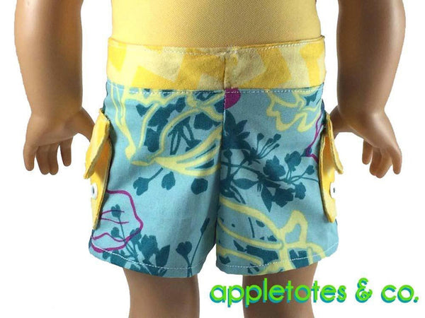 "Surf's Up Board Shorts Sewing Pattern for 18"" Dolls"