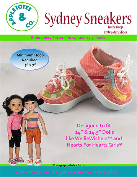 "Sydney Sneakers ITH Embroidery Pattern for 14.5"" Dolls"
