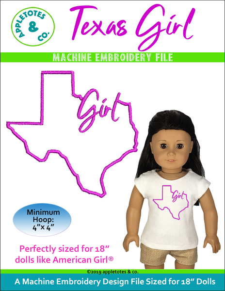 "Texas Girl Machine Embroidery File for 18"" Dolls"