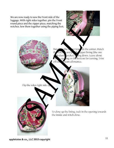 "Travel in Style Round Luggage Sewing Pattern for 18"" Dolls"
