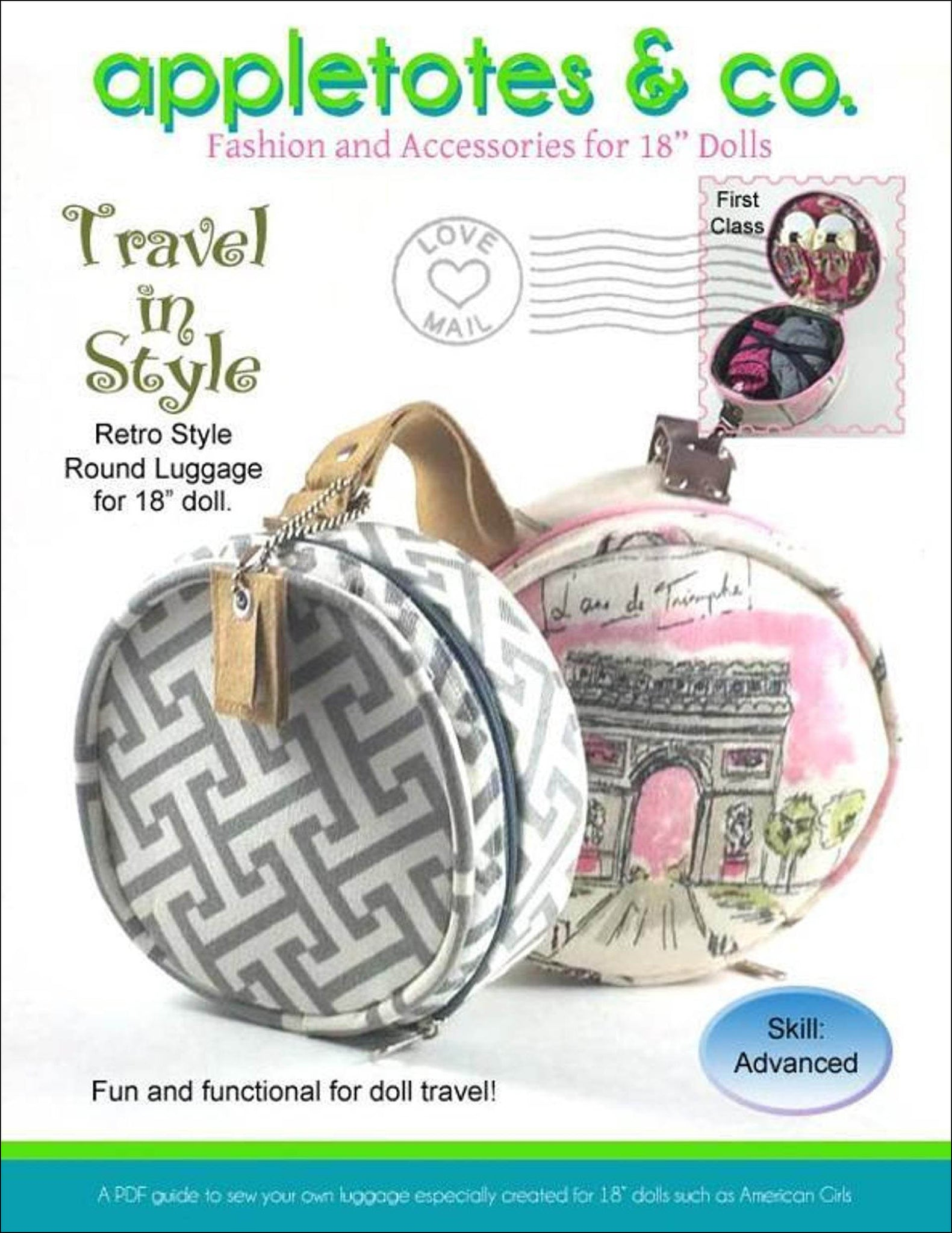 Travel in Style Round Luggage Sewing Pattern for 18