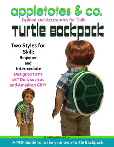"Turtle Backpack Sewing Pattern for 18"" Dolls"