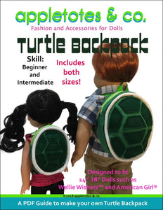 "Turtle Backpack Sewing Pattern for 14"" & 18"" Dolls"