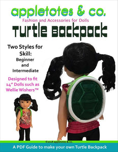 "Turtle Backpack Sewing Pattern for 14.5"" Dolls"