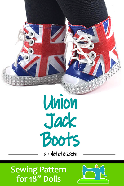 "Union Jack Boots Sewing Pattern for 18"" Dolls"