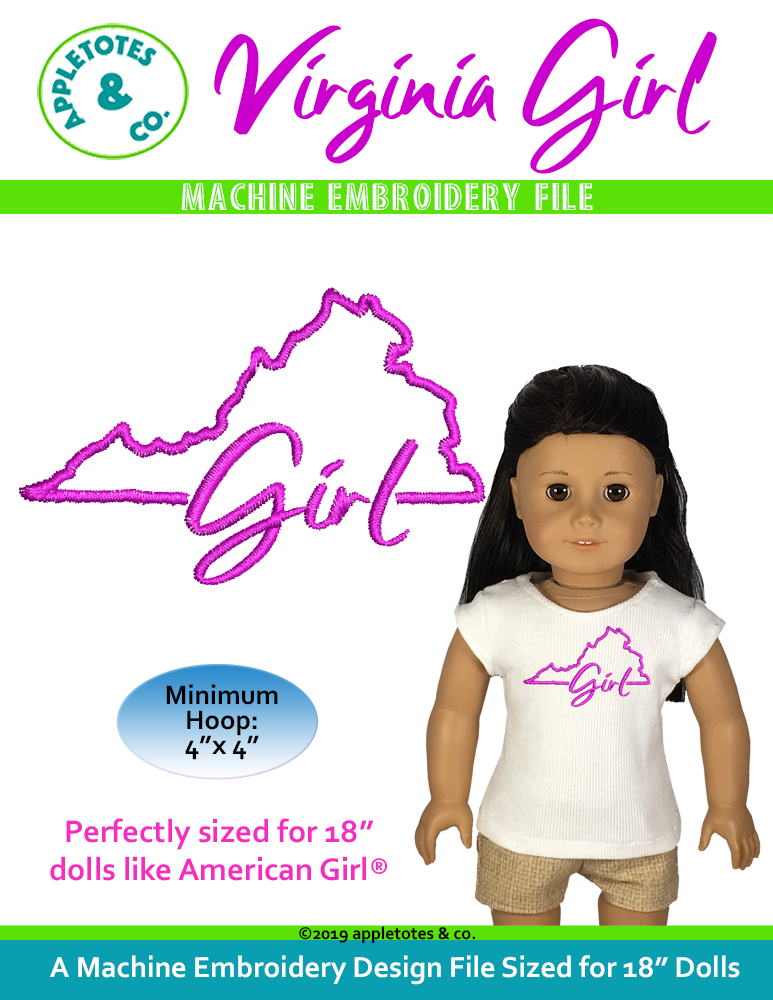 "Virginia Girl Machine Embroidery File for 18"" Dolls"