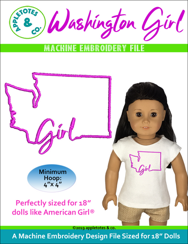 "Washington Girl Machine ITH Embroidery File for 18"" Dolls"