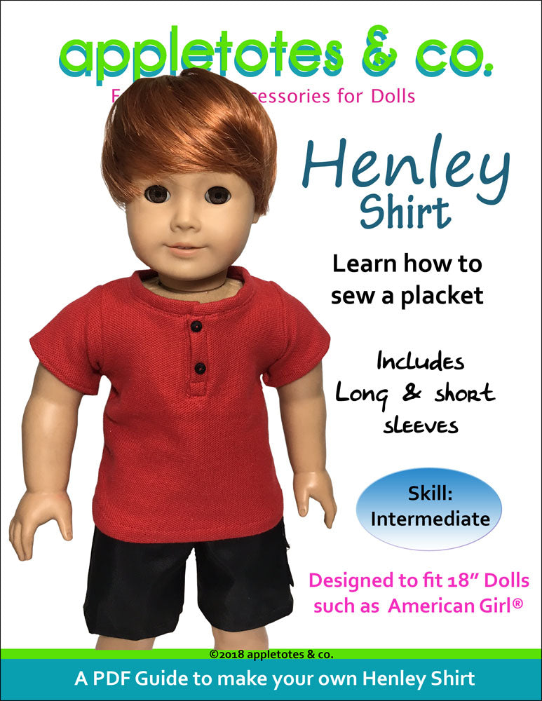"Henley Shirt Sewing Pattern for 18"" Dolls"