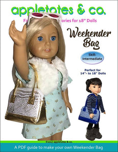 "Weekender Bag Sewing Pattern for 14""-18"" Dolls"