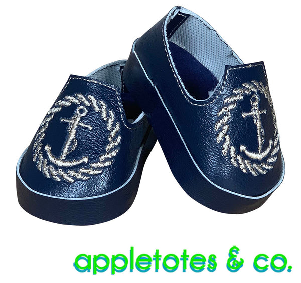 "Admiral Shoes ITH Embroidery Patterns for 18"" Dolls"