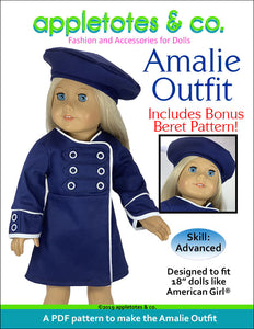Amalie Outfit Sewing Pattern for 18 Inch Dolls