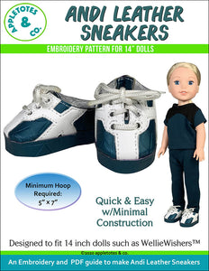 Andi Leather Sneakers ITH Embroidery Pattern for 14 Inch Dolls
