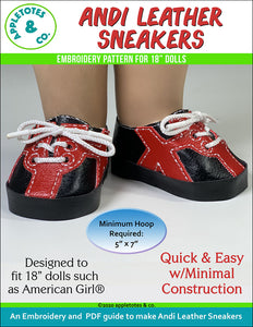 Andi Leather Sneakers ITH Embroidery Pattern for 18 Inch Dolls