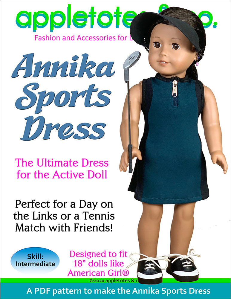 Annika Sports Dress Sewing Pattern for 18 Inch Dolls