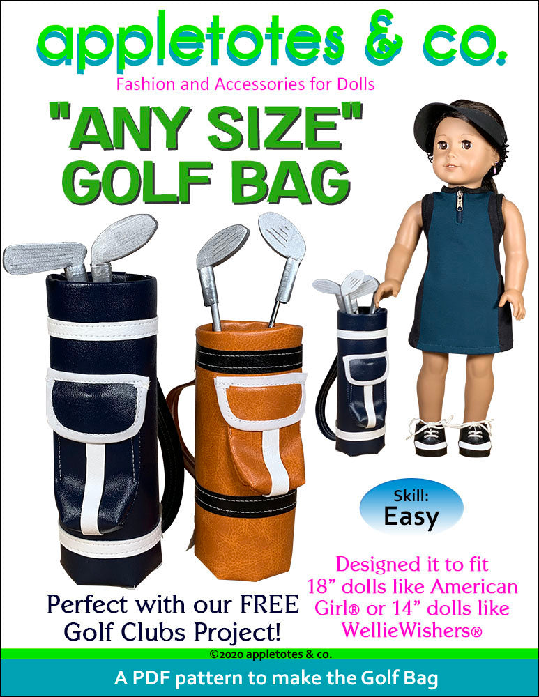 Golf Bag Sewing Pattern for 18 Inch Dolls